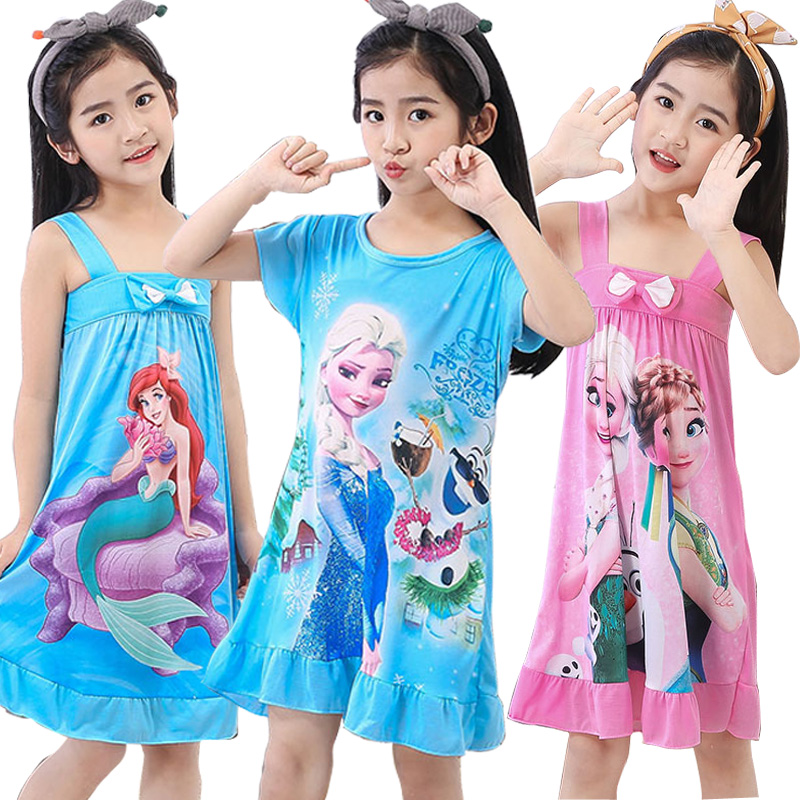 Wholesale Short Sleeved Nightgown Suit Children's Summer Nightdress Girls Lovely Home Time Cloth Children's Day Gifts Sleepdress