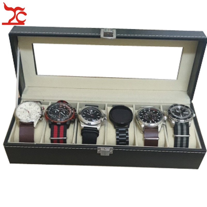 Quality Black PU Mechanical Mens Watch Jewelry Display Organizer Case Glass Cover Wrist Watch Travel  Storage Gift Box 6 Slots
