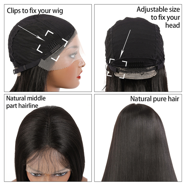 Synthetic Lace Front Wig Long Straight Wig With Baby Hair SOKU Heat Resistant Fiber Hair Natural Middle Part Wig For Black Women