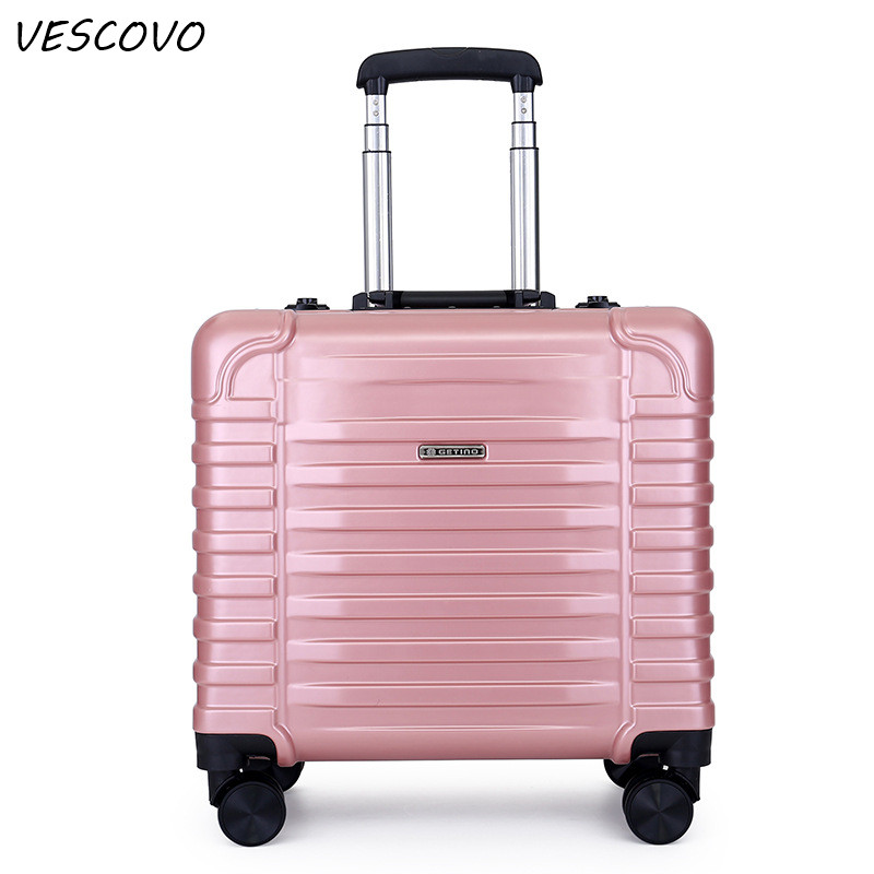 VESCOVO  17inch High Quality Aluminum Frame Rolling Luggage Spinner Men Travel Bags On Wheel Women Carry On Suitcase