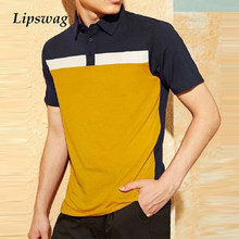 Summer Casual Short Sleeve Polo Shirts For Men Lapel Buttoned Pullover 2021 Fashion Patchwork Polo Tops Streetwear Mens Clothing