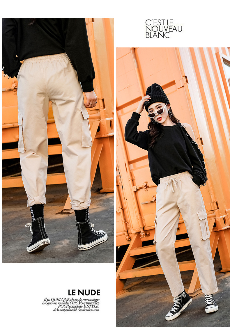 2019 spring and autumn new women's straight jumpsuit casual harem pants Harajuku style Korean version of the elastic waist wide 59