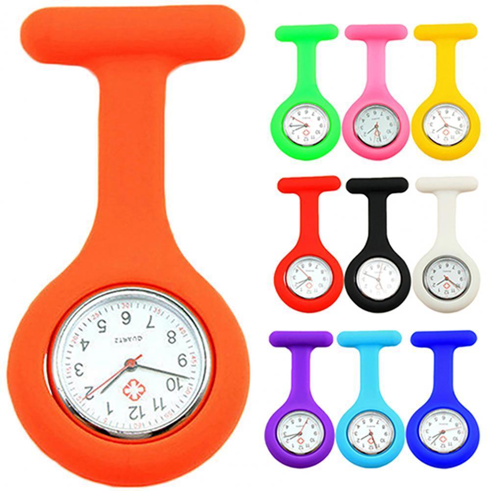 New Solid Color Clip-Ons Analog Digital Brooch Fob Medical Nurse Pocket Watch Gift Batteries Medical Quartz Watch Decor Accessor