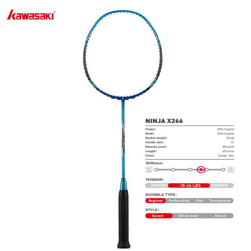 Kawasaki Rackets Speed Type Structure Racquet For Junior Plyers NINJA  X266 With Free Gift