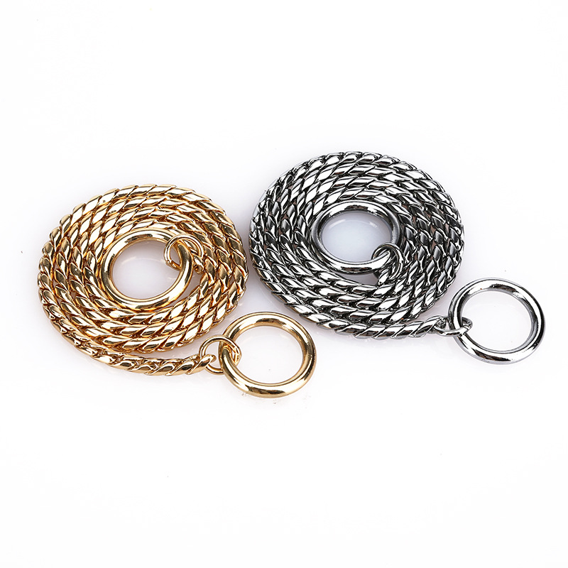 Snake Chain Cocossion Copper Snake Chain P Pendant Control Pendant Dog Neck Ring Pet Collar Small, Medium And Large Dog Neck Rin