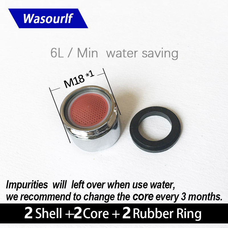 WASOURLF 2PCS Water Saving Faucet Aerator 6 L M18*1 Male Thread Tap Device Bubble Accessories Bathroon Basin Kitchen Water