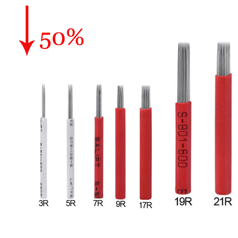 50p 3R 5R 7R 9R 17R 19R 21R Tattoo Needle Semi Permanent Makeup Microblading Blade Manual Pen Fog Needle Tattoo Accessory Supply