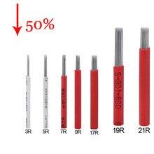 Agulha para tatuagem 50p 3r 5r 7r 9r 17r 19r 21r, semi permanente, lâmina de microblading, caneta, agulha para neblina acessório de tatuagem