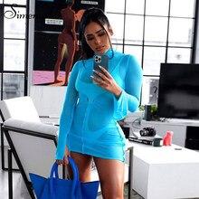 Simenual Sheer przepuszczalność Mesh sukienek Bodycon kobiety Ruched drążą Clubwear Skinny Midnight 2 sukienka z długim rękawem