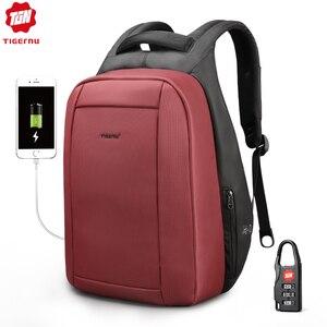 Image 2 - Tigernu 방수 도난 방지 여성 Mochila 15.6 인치 노트북 배낭 USB 배낭 학교 가방 배낭 여성 여행 가방