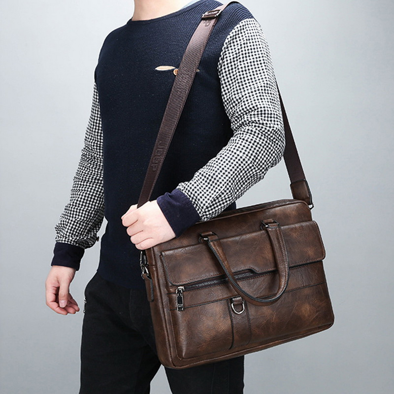 New Retro Men Solid Color Bags Faux Leather Briefcase Large Capacity Tote Shoulder Bags Large Casual Business Laptop Briefcase