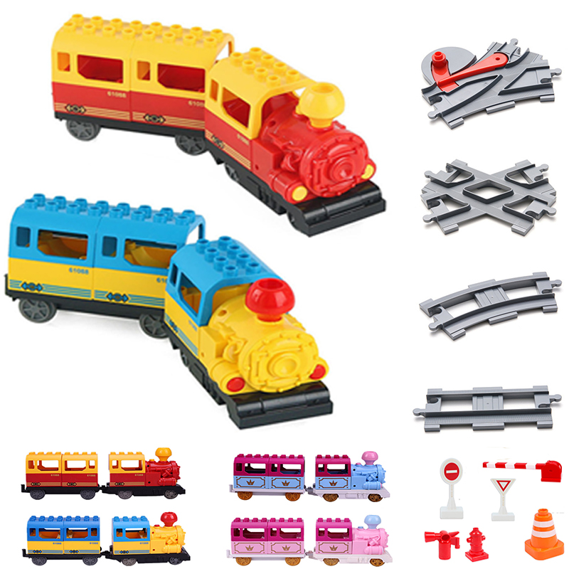 Diy Train Big Size Building Blocks Duploed Railway Track Accessory Viaduct Bridge Parts Kids Duploed Toys For Children Bricks