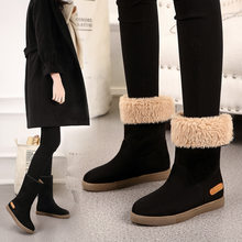 Snow Boots 2019 Flat Boots Winter Boots Cotton Shoes Plus Velvet Thickening Shoes Fur Boots Women Mid-calf Boots Women(China)