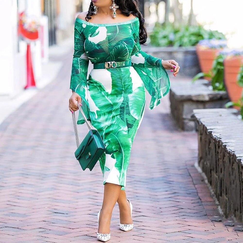 Imprimé Tropical pure épaules dénudées à manches longues robe automne femmes Sexy voir à travers moulante dîner soirée robe de soirée Midi 2019