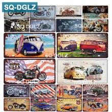 [SQ-DGLZ] eua motocicleta placa de licença barra decoração da parede rota 66 estanho sinal metal do vintage decoração casa pintura placas cartaz
