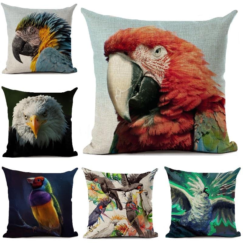 Bird Cushion Cover Macaw Owl Parrot Pillow Cover Living Room Sofa Car Decor Throw Pillows Home Decoration Pillowcase 45x45cm