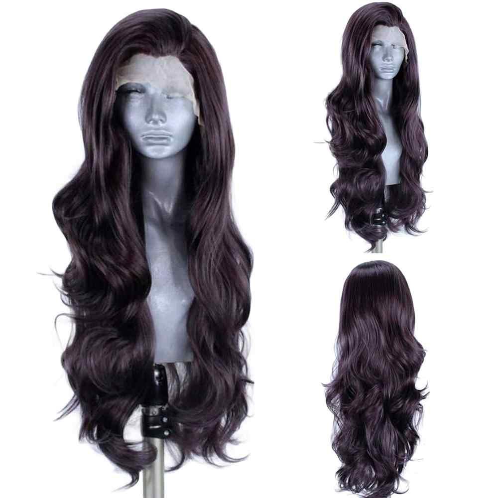 Ebingoo Высокая температура волокна черный серый синтетический парик фронта шнурка с детскими волосами длинная волна воды Futura парик для женщин