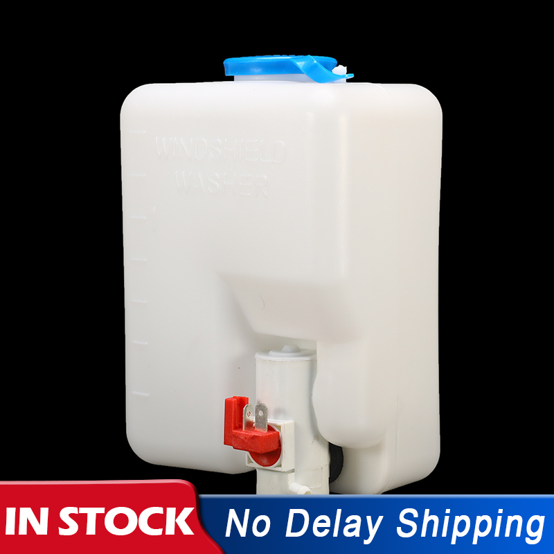 White Universal 12 Volt Windscreen Washer Pump Water Bottle