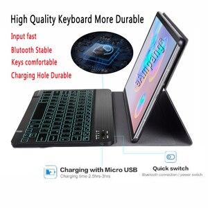 Image 3 - Arkadan aydınlatmalı klavye kılıf Samsung Galaxy Tab için S6 10.5 kılıf T860 T865 SM T860 kapak çıkarılabilir Bluetooth klavye deri Funda