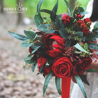 HIMSTORY Romantic Red Wedding Bride Bouquet Silk Roses Bridal Holding Bouquets Burgundy Artificial Flowers Bouquet for Mariage