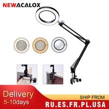 NEWACALOX — Grande loupe de bureau flexible 5X USB à lampe LED, verre illuminé 3 couleurs, pour lecture, travaux de retouche, soudage