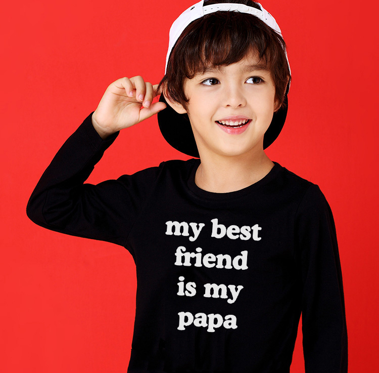 My <font><b>Best</b></font> <font><b>Friend</b></font> Is My Papa <font><b>Kids</b></font> Funny T <font><b>Shirt</b></font> Toddler Unisex Long Sleeve Casual Tees Tops Clothes Children Fashion O-neck <font><b>Shirts</b></font> image