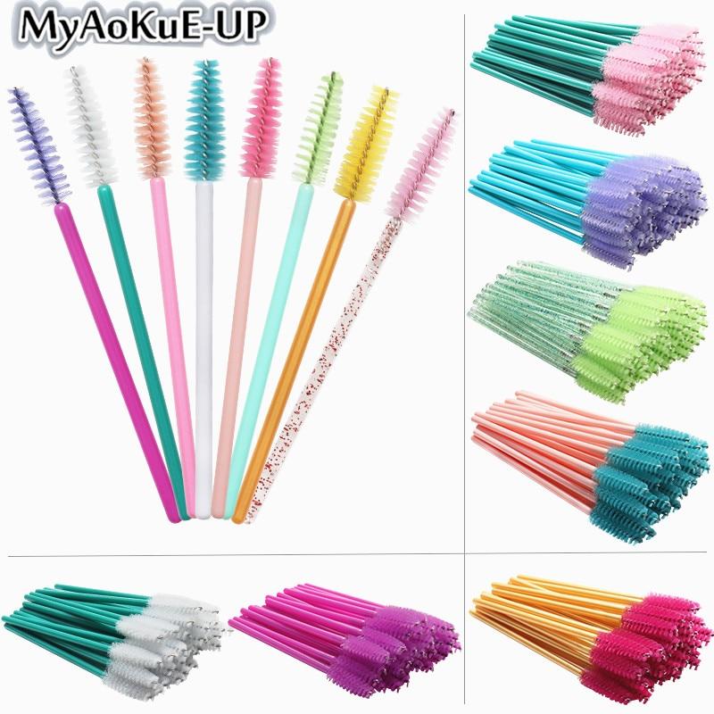 50pcs Disposable Make Up Brushes Cosmetic Eyelashes Crystal Eyelash Brushes Diamond Applicator Eyelash Mascara Wands Brush Tools