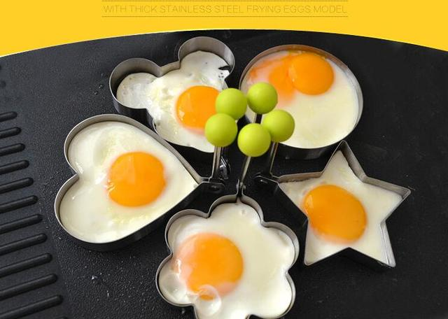 1 pcs Stainless steel form for frying eggs tools omelette mould device egg/pancake ring egg shaped kitchen appliances