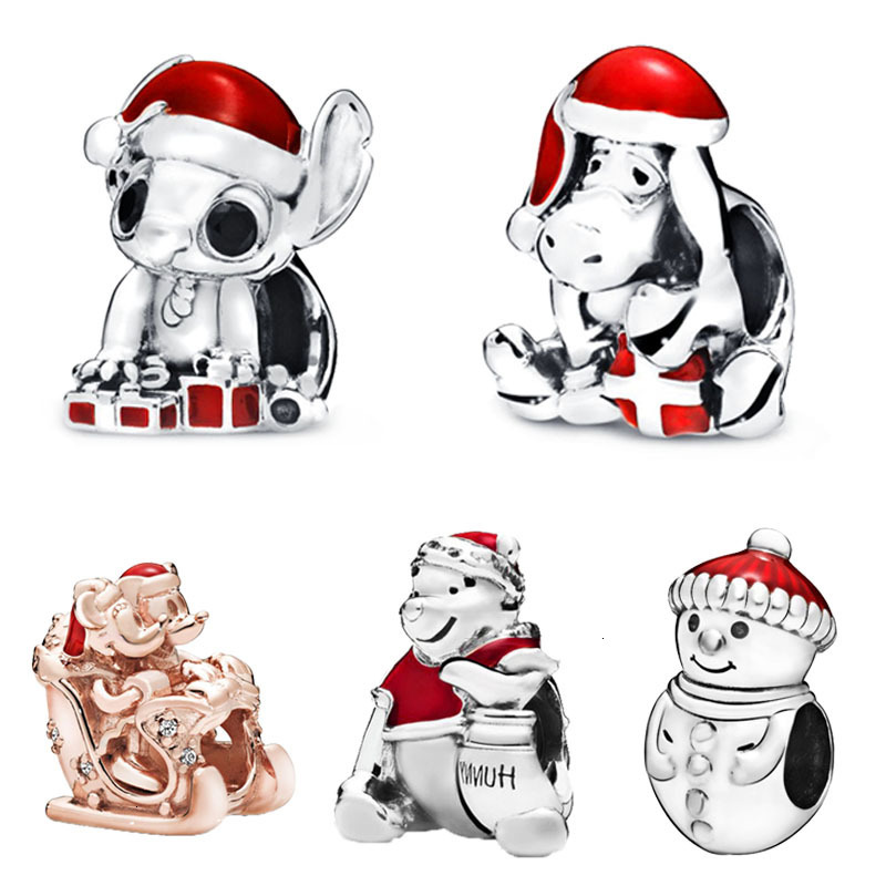 Authentic 925 Sterling Silver Bead Santa in a Giftbox Winnie Stitch Christmas Charms Fit Original Bracelet Women DIY Jewelry