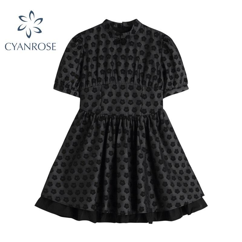 Женское мини-платье с коротким рукавом, элегантное черное платье с винтажным принтом и воротником-стойкой в Корейском стиле, лето 2021