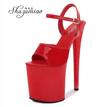 Ultra-High Heels 20cm Women Shoes Lacquer Leather 2020 New Waterproof Platform Hate Sky Sandals Front & Rear Strap Female Shoes image