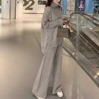 Pullover Set Frauen Winter Gestrickte Anzüge 2 Stück Set Soild Rollkragenpullover + Lose Hosen Büro Dame Anzug 2019 Warme pullover