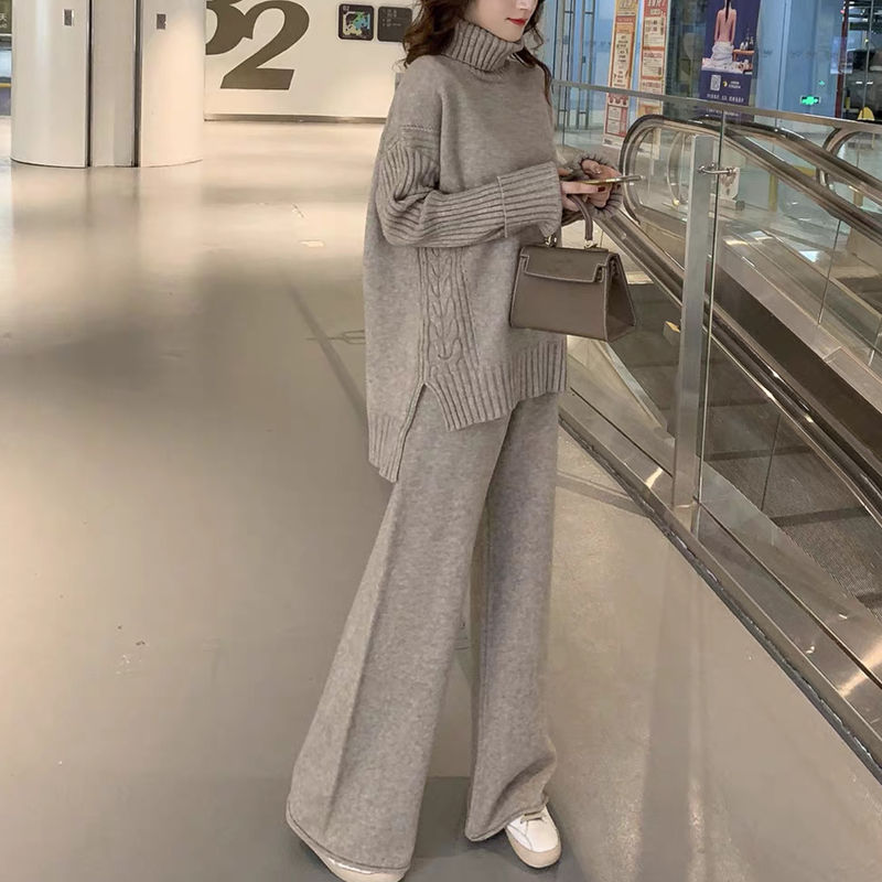 Sweater Set Women Winter Knitted Suits 2 Piece Set Soild Turtleneck Sweater + Loose Trousers Office Lady Suit 2019 Warm Pullover