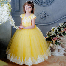 Dress Wedding Yellow Flower-Girl Birthday-Party Baby for Short-Sleeve