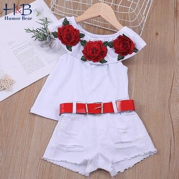 ¡Novedad de 2020! Traje de verano para niña de oso de Humor, traje de pantalón corto blanco rasgado con blusa de flor rosa de cuello único para niños, conjuntos de ropa para bebés y niños
