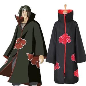 Hot Sale Anime Naruto Akatsuki /Uchiha Itachi Cosplay Halloween Christmas Party Costume Naruto Cloak Cape necklace ring