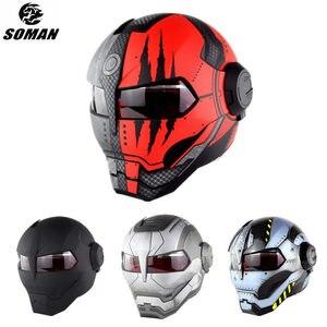 Image 1 - SOMAN Iron Man Helmet Flip Up Motorcycle Helmet Robot Style Motor Bike Casco Monster Casque DOT Approval SM515 Cool Helmets 515