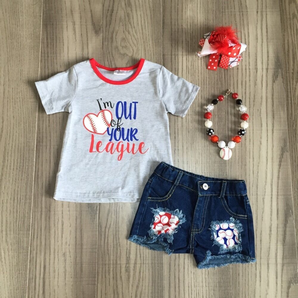 Baby Girls Baseball Season Clothes Kids Baseball Grey Shirt Summer Jeans Shorts Matching Accessories