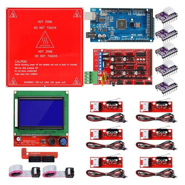 Rampas reprap 1.4 kit com mega 2560 r3 + heatbed mk2b + 12864 controlador lcd drv8825 interruptor mecânico cabos para impressora 3d