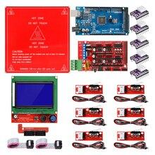 Reprap rampaları 1.4 kiti Mega 2560 r3 + Heatbed MK2B + 12864 LCD denetleyici + DRV8825 + mekanik anahtarı + kablolar için 3D yazıcı