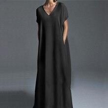 ZANZEA-Vestido largo holgado con bolsillos para mujer, caftán Vintage, Vestido de manga corta con cuello en V, largo hasta el suelo, de talla grande