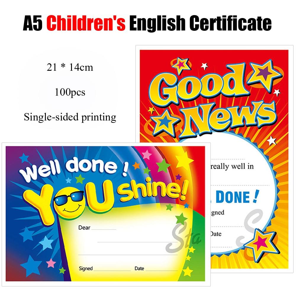 100 Pcs/Lot A5 Quality English Children Award Certificates Print Paper Subject Letter for Appreciation Kindergarten Student