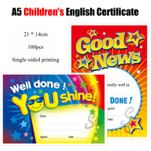 100pcs/pack A5 Quality English Children Award Certificate Paper Subject Letter of Appreciation Kindergarten Student certificate