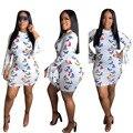Однотонное Платье с принтом бабочки, облегающее платье с рукавом-колокольчиком, летняя сексуальная женская одежда в европейском и американ...