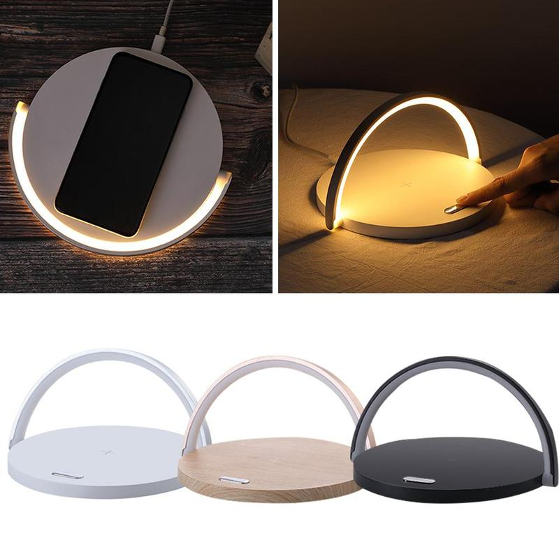 3 In 1 Function Wireless Fast Charger New Night Light With Bracket Desktop Night Light Round Phone Holder For Iphone Huawei