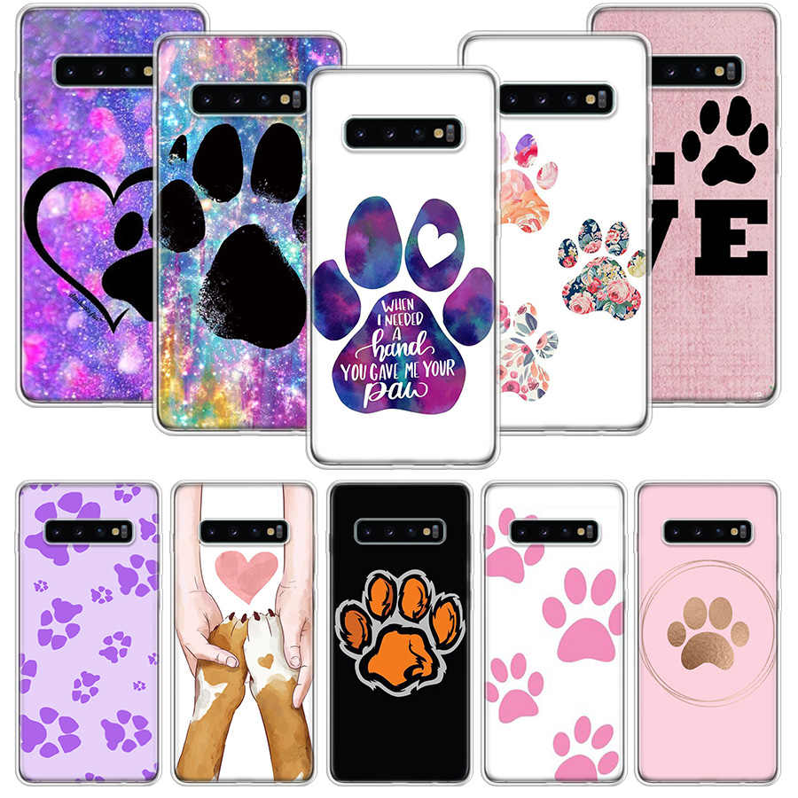Anjing Footprint Paw Case untuk Samsung Galaxy S20 Ultra Catatan 10 9 8 S10E S9 S8 J4 J6 J8 Plus + Pro S7 S6 Soft Phone Coque