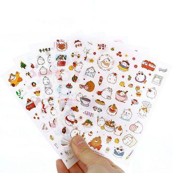JESJELIU 6 pcs/set Korea Molang Stupid Meng Super Cute Rabbit Q Pet Decorative Planner Stickers Diary Sticky Notes