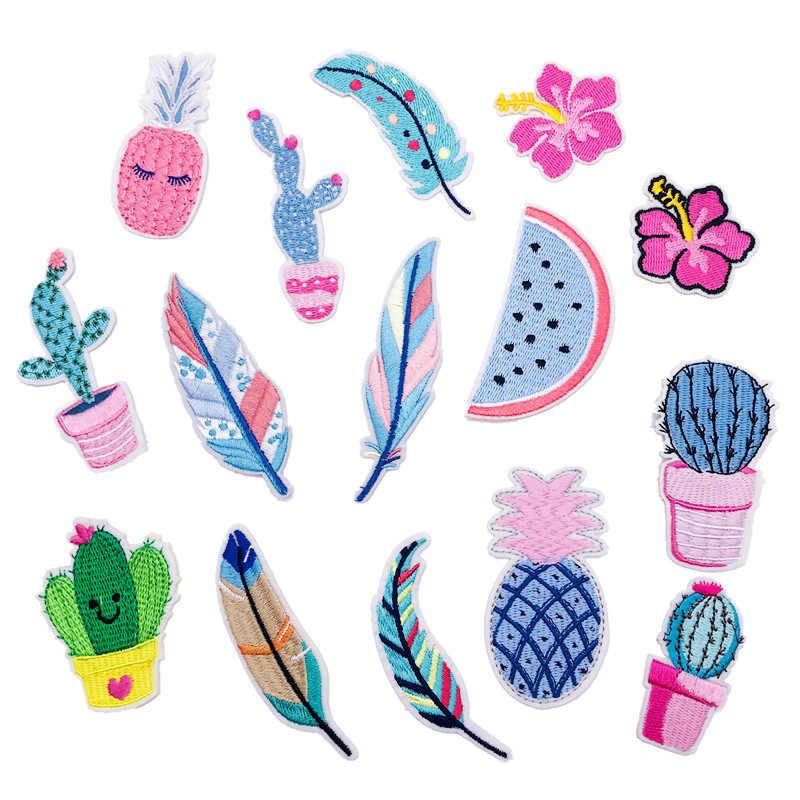 1pc Nuovo Arrivo Cactus Piuma Frutta Ricamo Ferro-on Scarpe Cappelli Per Bambini Cappelli di Abbigliamento Ricamato Toppe e Stemmi Tessuto Paillettes