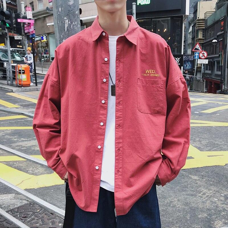 2019 Autumn Men Solid Shirt Long Sleeve Fashion Weekdays Embroidery Shirt Male Streetwear Couple Shirts ABZ537