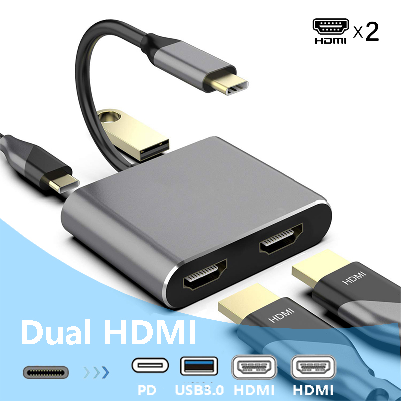 USB Type C Laptop Docking Station Dual HDMI Dual Screen Display USB 3.0 Hub Adapter Dock for HP DELL XPS Surface Lenovo ThinkPad
